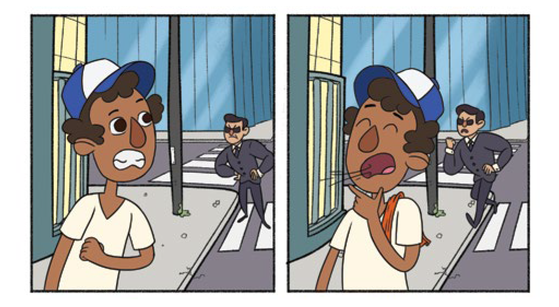Quadro 2: O flanelinha se assusta quando avista um segurança na esquina do teatro. Quadro 3: O flanelinha fecha os olhos para puxar todo o ar possível para o assobiar alto e  avisar ao vendedor de balas que o segurança com cara de bravo está se aproximando.