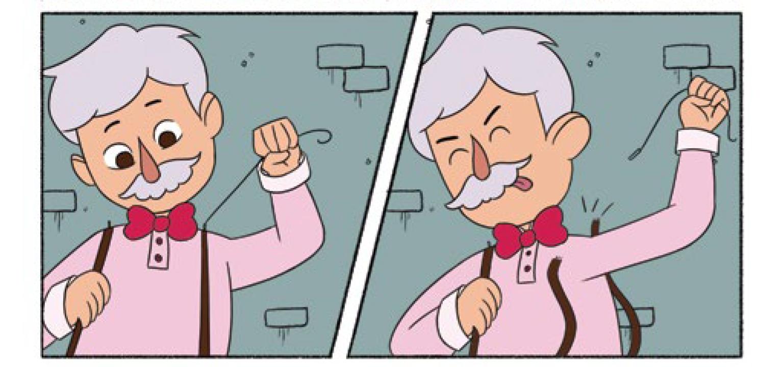 Quadro 2 : O vendedor de balas tenta retirar os suspensórios que auxiliam a segurar a bandeja com seus doces. Quadro 3: O vendedor consegue retirar seus suspensórios sem deixar nenhuma bala cair no chão.