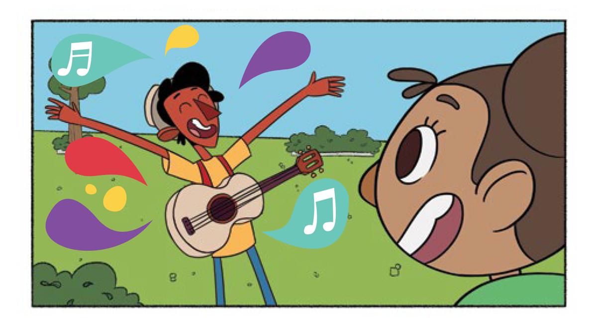 Tuhu abre os braços e sente a música e suas notas musicais coloridas. A menina sorri enquanto o observa.