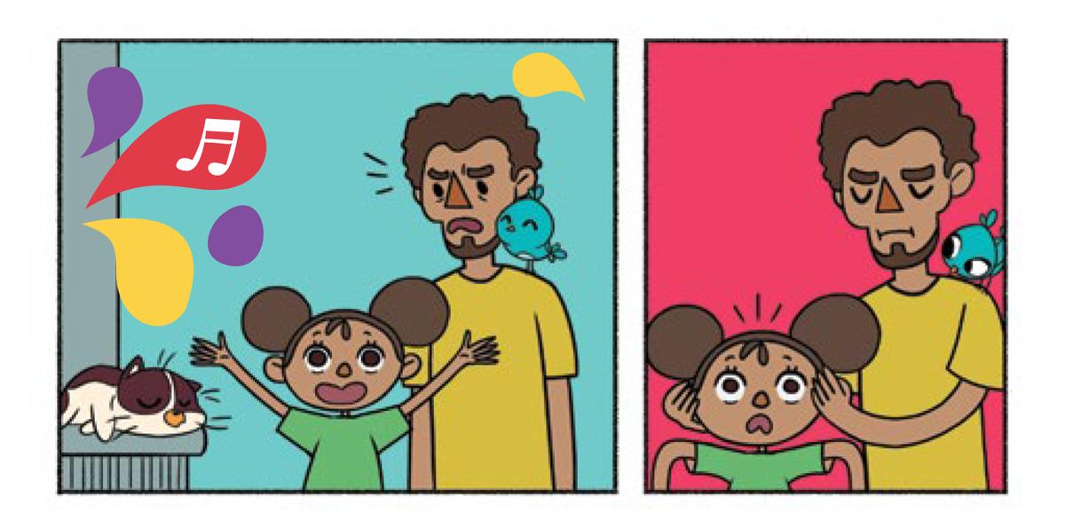 Quadro 1: Raul dorme em cima do muro. A menina vibra com o som da música de Tuhu. Noêmia pousa no ombro do pai, que emburrado observa a filha. Quadro 2: O pai emburrado tampa os ouvidos da menina. Noêmia observa assustada. A menina se assusta com a reação do pai.
