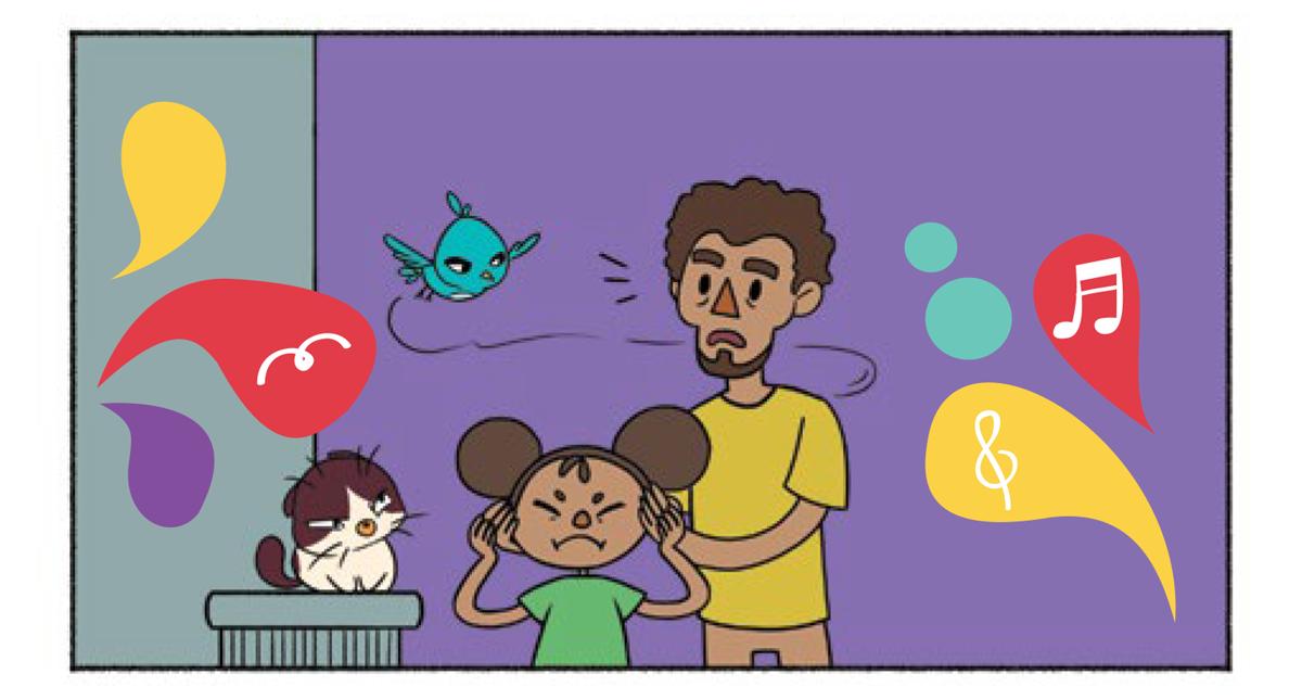Quadro 3: O pai continua cobrindo os ouvidos da filha. A menina fica chateada com reação do pai. Noêmia e Raul o observam com irritação.