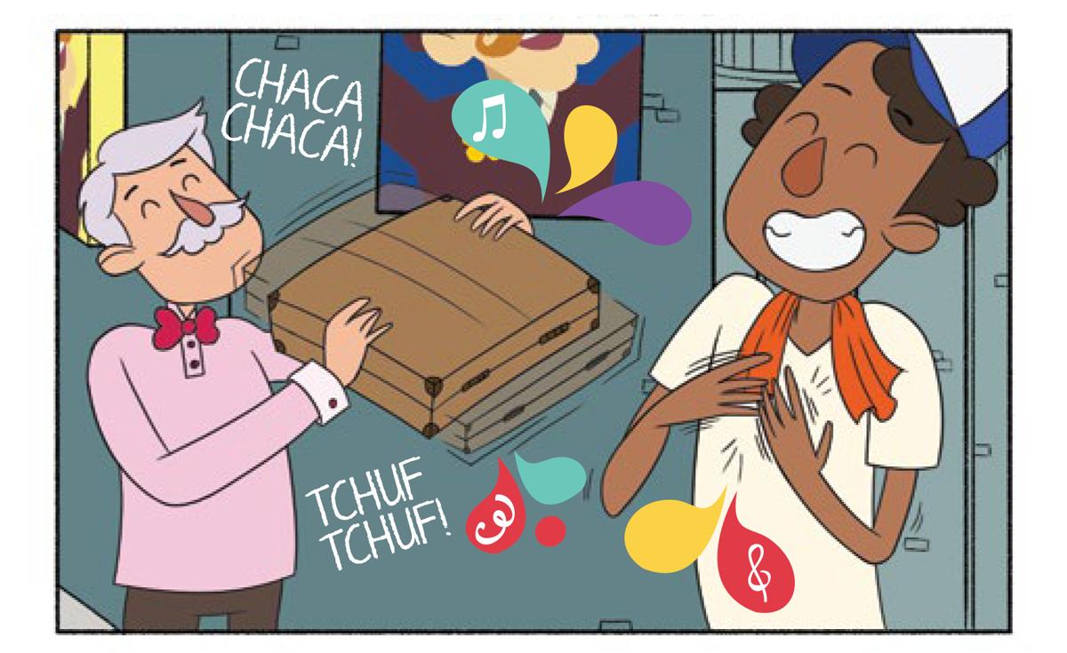 """Quadro 4: O vendedor levanta sua maleta e a chocalha para tirar som """"CHACA CHACA TCHUF TCHUF"""". O flanelinha bate suas mãos no próprio peito para emitir novos sons."""