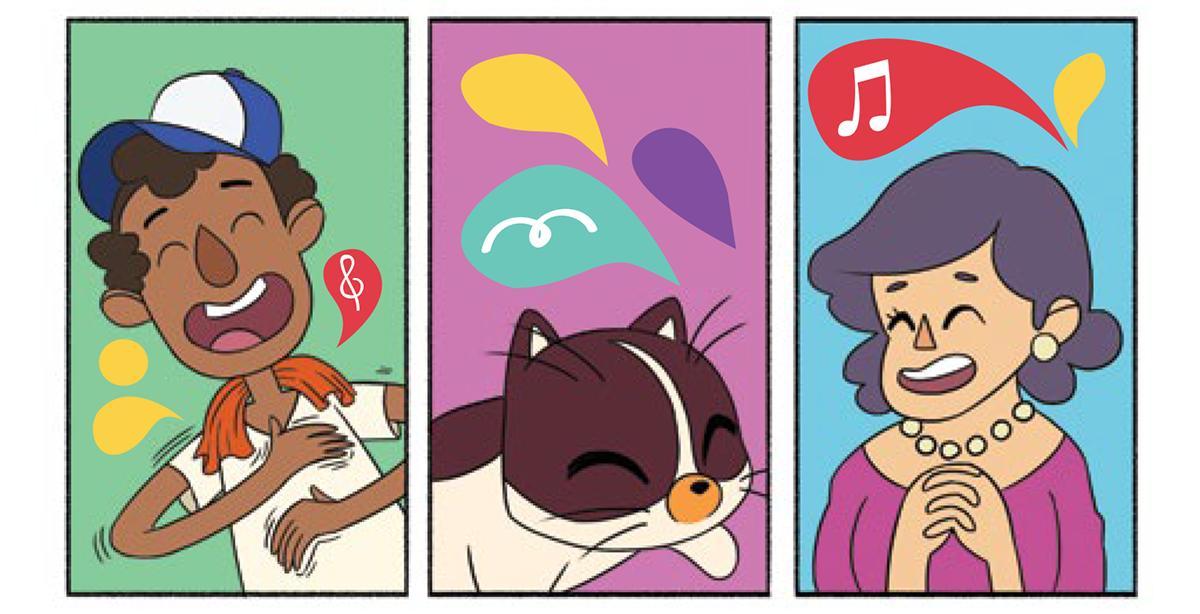 Quadro 2: o gato, Raul, ouve os sons de olhos fechados. Quadro 1: flanelinha bate as mãos no próprio peito para fazer diferentes sons. Quadro 3: a elegante senhora de mãos atadas sorri enquanto observa e ouve a música.