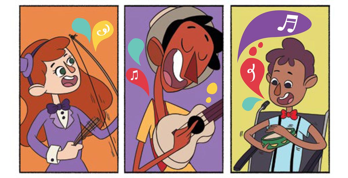 Quadro 4: a jovem artista toca o berimbau feliz com os sons que está descobrindo. Quadro 5: Tuhu toca seu violão sorridente. Quadro 6: o jovem artista toca o pandeiro feliz.