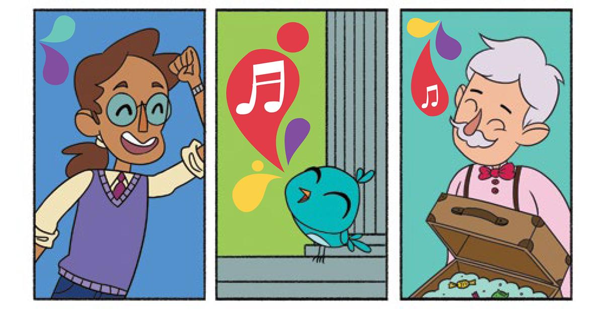 Quadro 7: o senhor sorridente dança com a mão para o alto. Quadro 8: Noêmia pia para completar o mix de sons. Quadro 9: O vendedor de balas abre novamente sua maleta e ouve todos os sons.