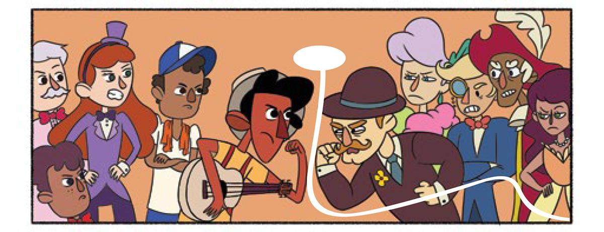 Quadro 2: Enquanto Tuhu e o ator que pedia silêncio se encaram e os outros observavam, surge um som.