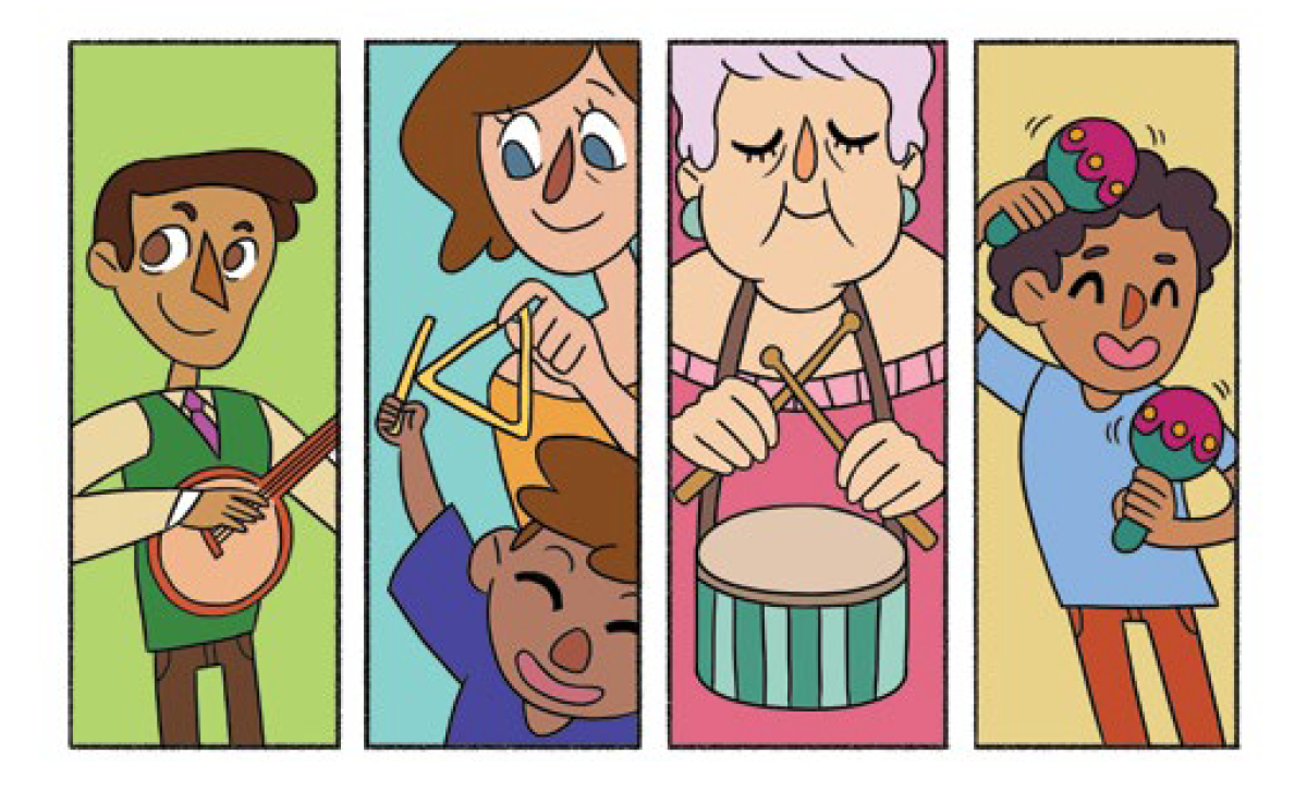 Quadro 1: Um homem de colete verde toca um banjo. Quadro 2: Um menino com a mãe toca o triângulo. Quadro 3: Uma senhora pendura o tamborzinho no pescoço e segura as baquetas nas mãos. Quadro 4: O menino de blusa azul sacode os chocalhos coloridos.