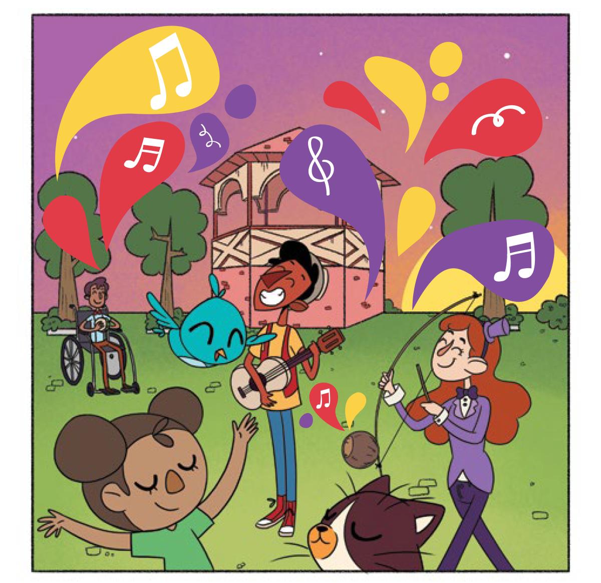 Quadro 5: Na praça, em frente ao coreto, Tuhu toca seu violão, a jovem artista toca o berimbau, o jovem artista toca o pandeiro, a menina dança de braços para cima e olhos fechados, Noêmia voa pelos ares e Raul ouve todos os sons atentamente.