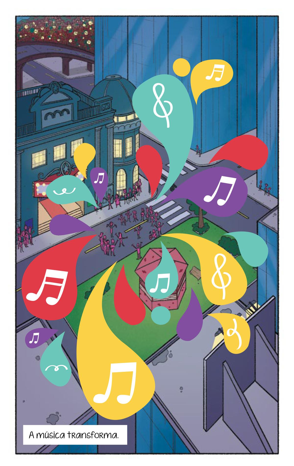 Quadro 1: As notas musicais se espalham por toda cidade. Contagiando todas as pessoas que estavam no teatro, na praça, ruas e prédios.