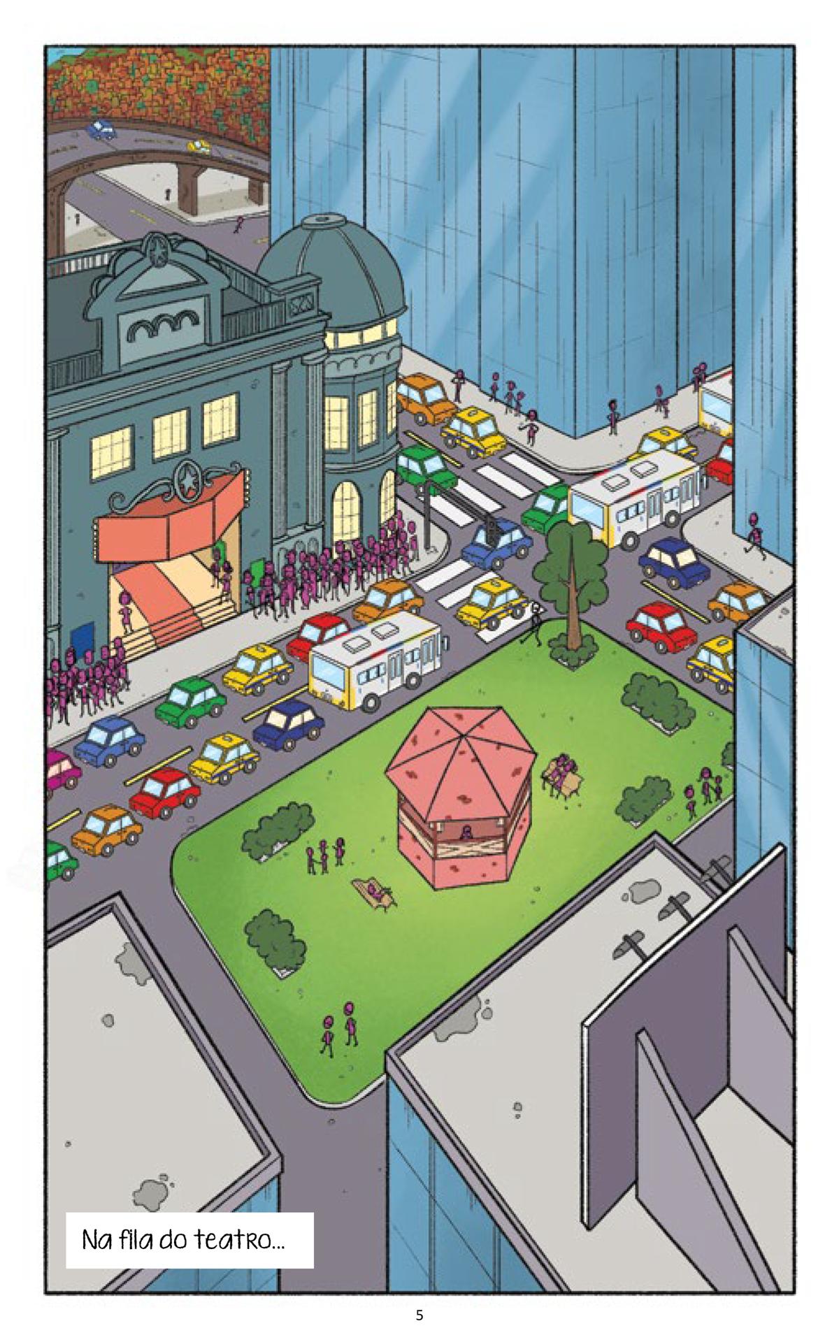 Tirinha com ilustração colorida. Centro da cidade. Muito trânsito, prédios, uma praça ao centro com coreto, com chão de grama e grandes árvores e pessoas passeando. À esquerda longa fila para o teatro