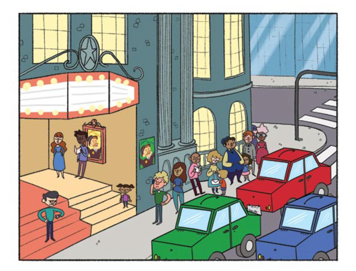A tirinha com ilustração colorida apresenta no quadro 1: diferentes pessoas impacientes na fila do lado de fora do teatro, enquanto muitos carros passam na rua.