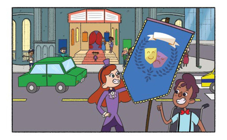 Quadro 4: Artistas de rua posicionam sua bandeira na praça em frente ao teatro. Na cena uma jovem com cabelo ruivo comprido, roupa lilás, gravata borboleta e chapéu e um jovem moreno de cabelo curto marrom, blusa azul, suspensório e gravata borboleta vermelha em uma cadeira de rodas. Ambos sorrindo.
