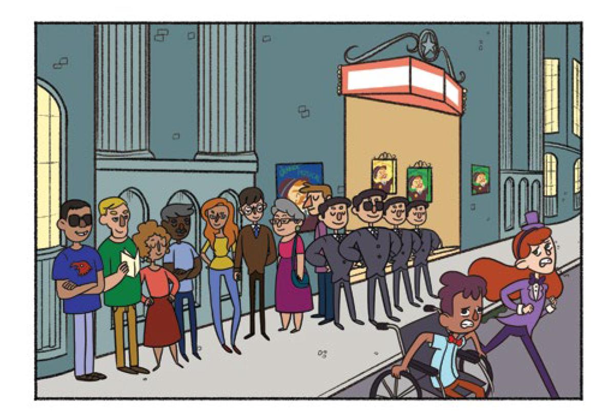 Quadro 1: Os jovens artistas assustados se afastam da fila. Os seguranças esboçam um sorriso discreto. As pessoas na fila do teatro assistem.