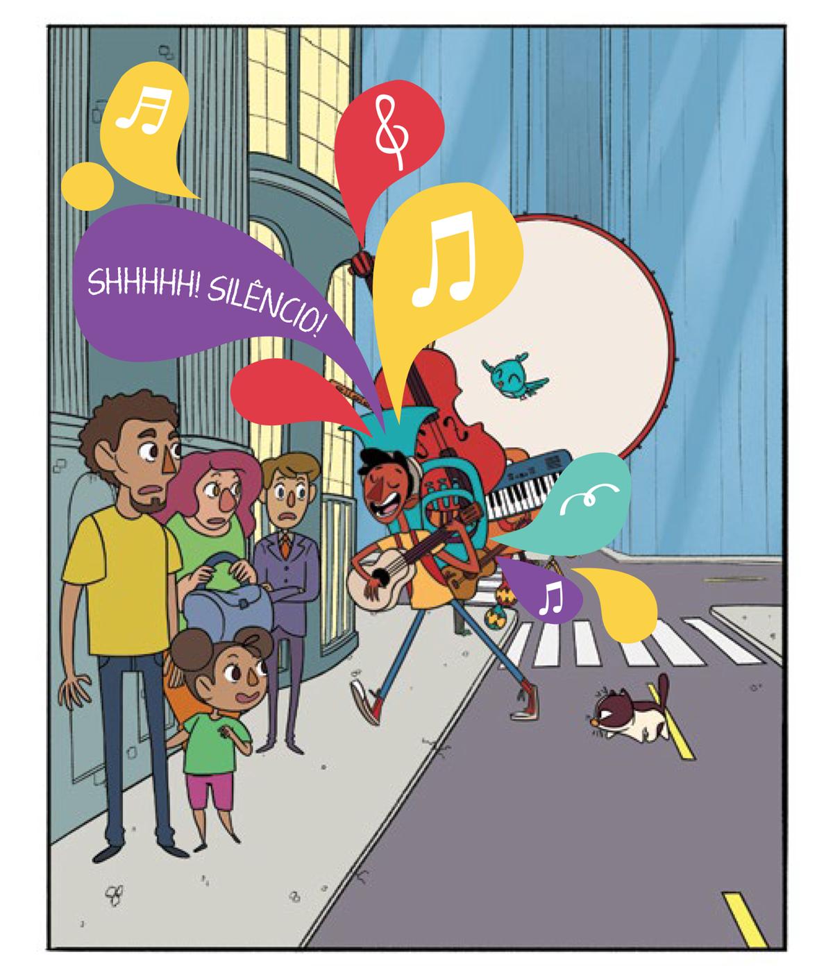 Quadro 2: o jovem instrumentista Tuhu atravessa a rua tocando seu violão e carregando todos os seus outros instrumentos nas costas, violoncelo, teclado, viola, trompa, chocalho. Seguido pela sagaz passarinha, Noêmia e pelo gato preguiçoso, Raul. As pessoas na fila observam ainda sem entender. Na fila, o público que aguarda para entrar no teatro olha com curiosidade e surpresa.