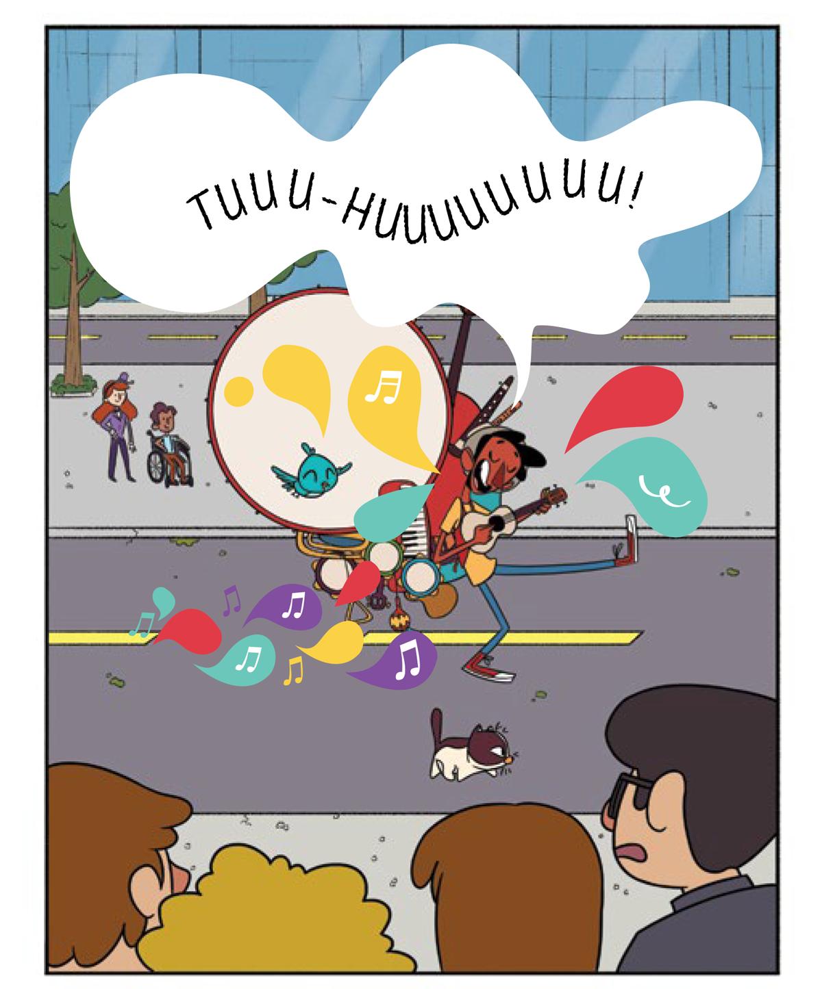 Quadro 2: Tuhu, acompanhado por Noêmia e Raul, dança e canta no meio da rua. Da praça, os jovens artistas observam sorridentes. Da calçada do teatro, todos observam.