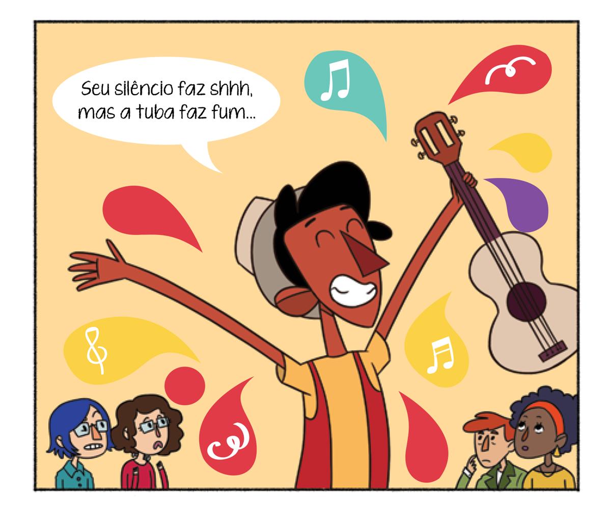 Quadro 1: Tuhu segura seu violão em uma das mãos e canta enquanto as pessoas o observam.