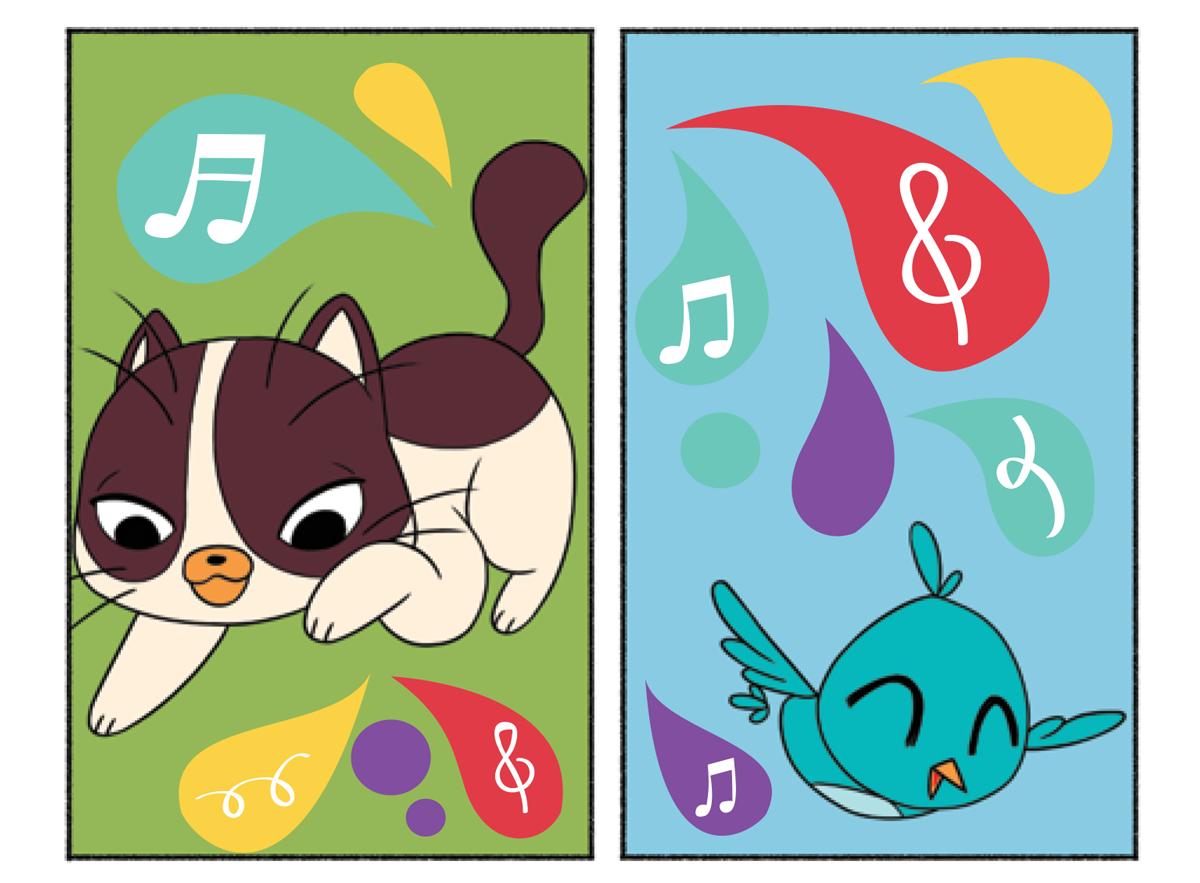 Quadro 2: Raul, o gatinho brinca com as notas musicais.