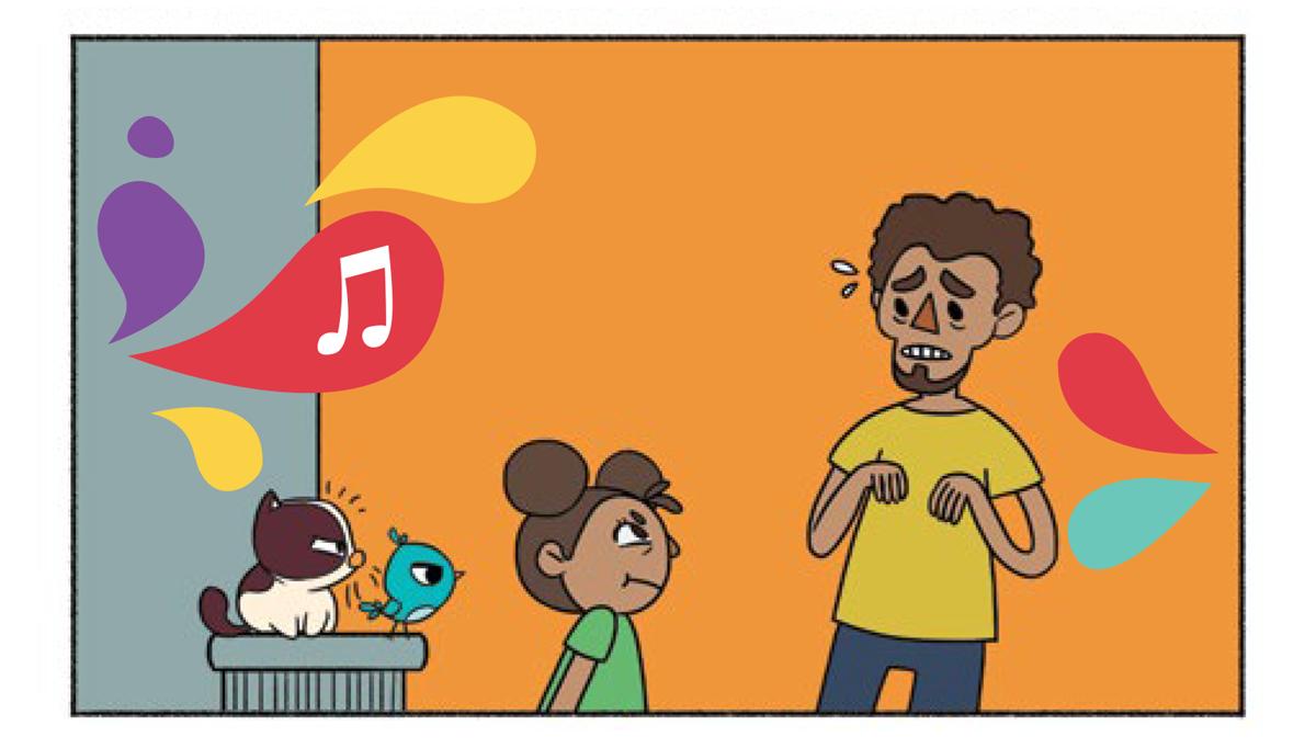 Quadro 4: Noêmia, Raul e a menina olham para o pai irritados. O pai fica apreensivo com a reação de todos.