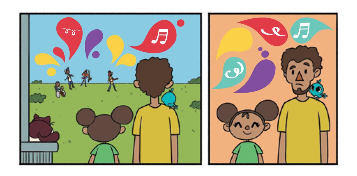 Quadro 1: O pai e a menina da fila observam a movimentação de longe acompanhados de Raul, que está no muro ao lado da menina e Noêmia, que está pousada no ombro do pai. Quadro 2: O pai observa a alegria da menina que sorri ao olhar apresentação musical que acontece na praça. Noêmia pousada no ombro do pai o observa.