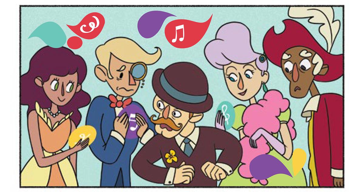 Quadro 2: Mas todos parecem se conectar com a música e suas notas musicais voadoras.
