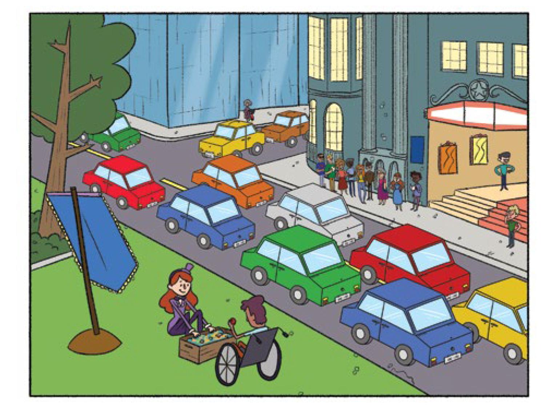 Quadro 3: Na praça em frente ao teatro abrem uma caixa com objetos de circo, como bolinhas, fitas coloridas, cartas de baralho.