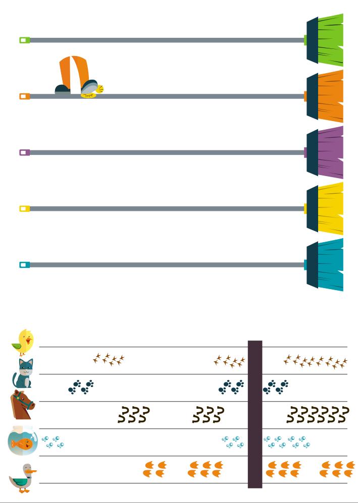 vassouras coloridas posicionadas horizontalmente com pés marcando o ritmo entre elas. No 2º exercício está ilustrado uma pauta com a proposta de organizar a escrita e leitura. Onde na primeira linha há um pintinho, na segunda um gato, na terceira um cavalo, na quarta um peixe no aquário e na quinta um pato. Todas as marcações estão ilustradas com a marca das patas desses bichos, exceto o peixe, que tem sua marcação representada por bolhas. Além disso, há uma marcação de silêncio.