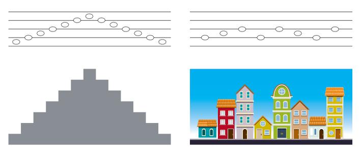 ilustração a esquerda de pauta musical com suas linhas e espaços e abaixo o desenho de uma escada exemplificando a posição na pauta. Ao lado, ilustração de pauta musical  com suas linhas e espaços e abaixo o desenho de uma cidade, com diferentes tamanhos de construções, exemplificando a posição na pauta.