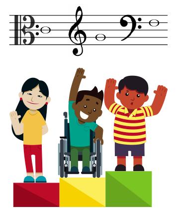 Ilustração com três diferentes crianças no pódio musical.