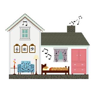 ilustração de casa com cortina, poltrona, cama, quadros, janelas e armários com notas musicais, que saem até pela chaminé.