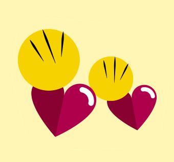 Duas ilustrações de corações com círculos e traços que indicam o batimento cardíaco.