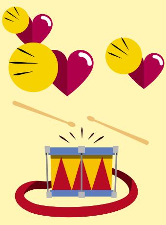 três ilustrações de corações com círculos e traços que indicam o batimento cardíaco, logo abaixo um tambor colorido com alça e duas baquetas dando a ideia de som