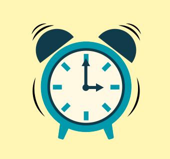 ilustração de relógio indicando 15h e vibração sonora