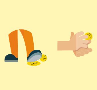 ilustração de pés onde um deles é batido no chão e ao lado a ilustração de mãos batendo palmas