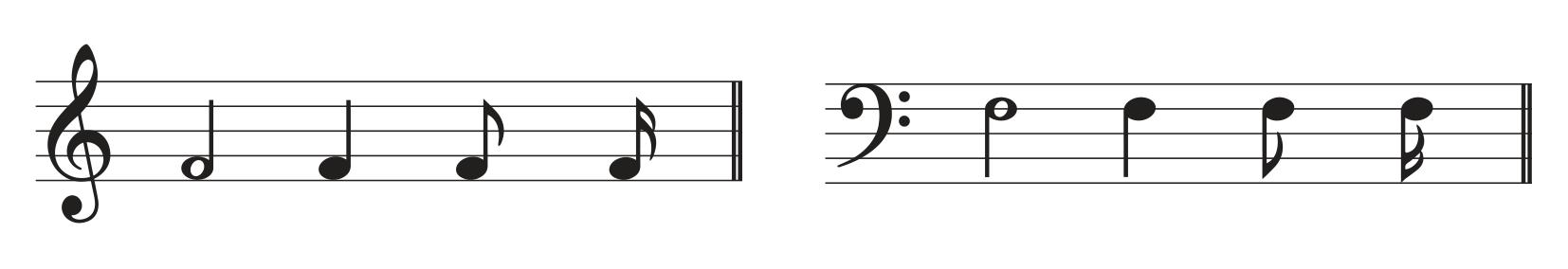 ilustração de clave de Sol seguida de clave de Fá.