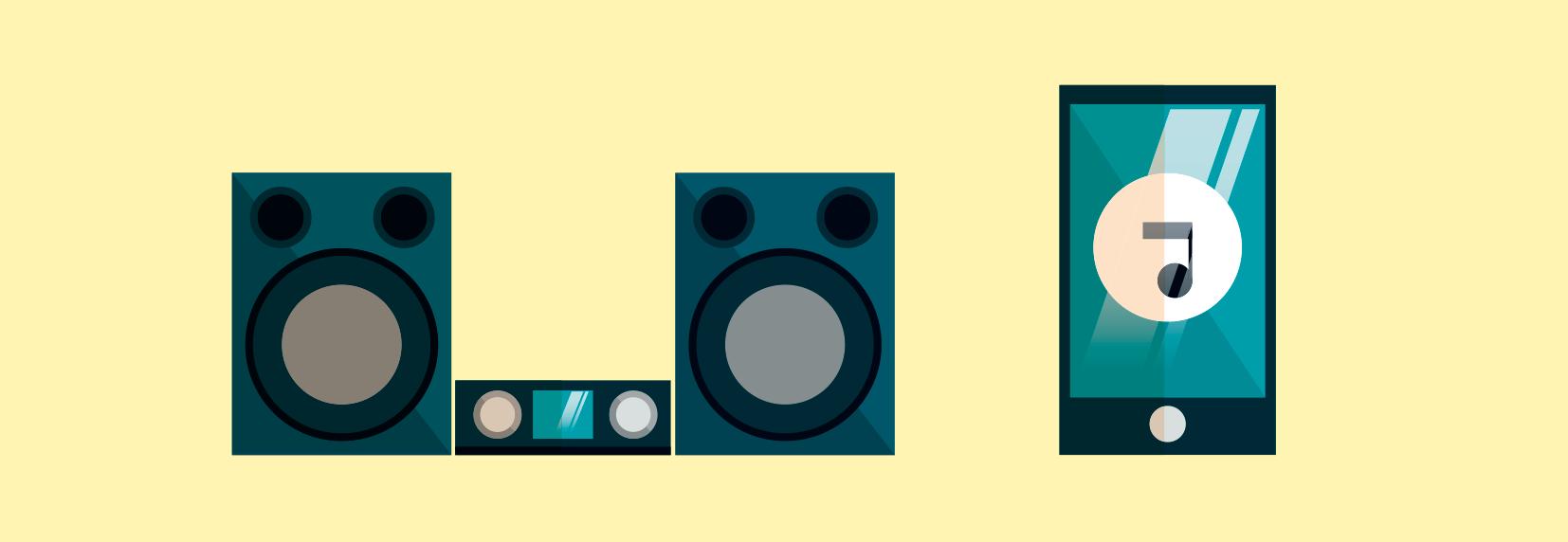 ilustração de aparelho de som com duas caixas de som e de um aparelho de celular.