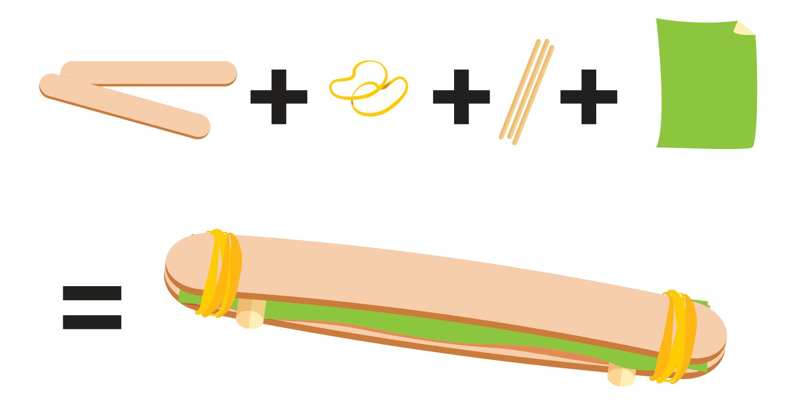 ilustração dos materiais necessários para a confecção do instrumento de sopro, sendo palitos largos de picolé, elásticos, palito de dente e um pedaço de papel, seguido de imagem ilustrando o instrumento montado.