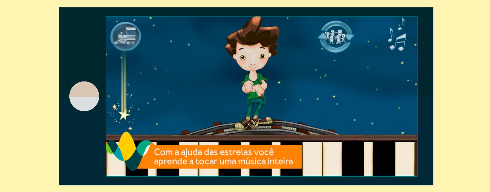 Imagem do aplicativo Tuhu Musical no jogo ensaio, onde o objetivo é treinar ritmo e melodia.