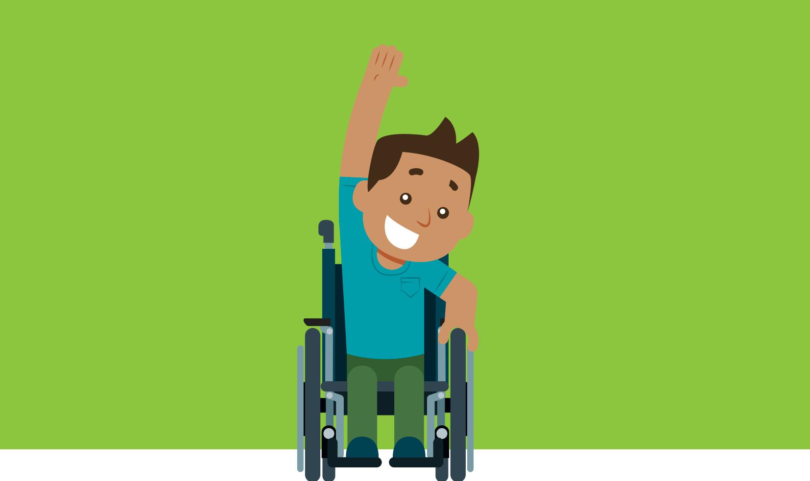 ilustração de criança em cadeira de rodas com um braço para cima e sorriso no rosto.