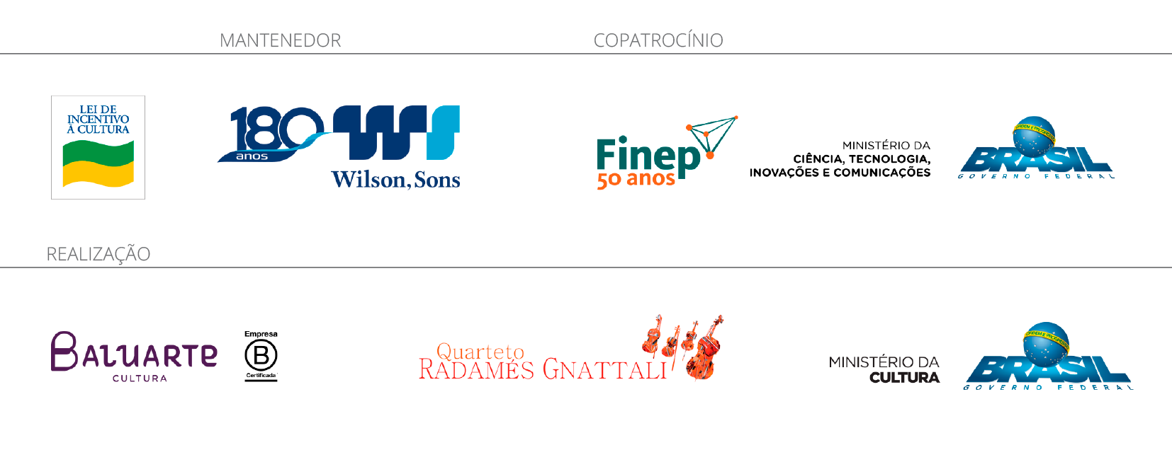 Logos de mantenedor, copatrocínio e realização