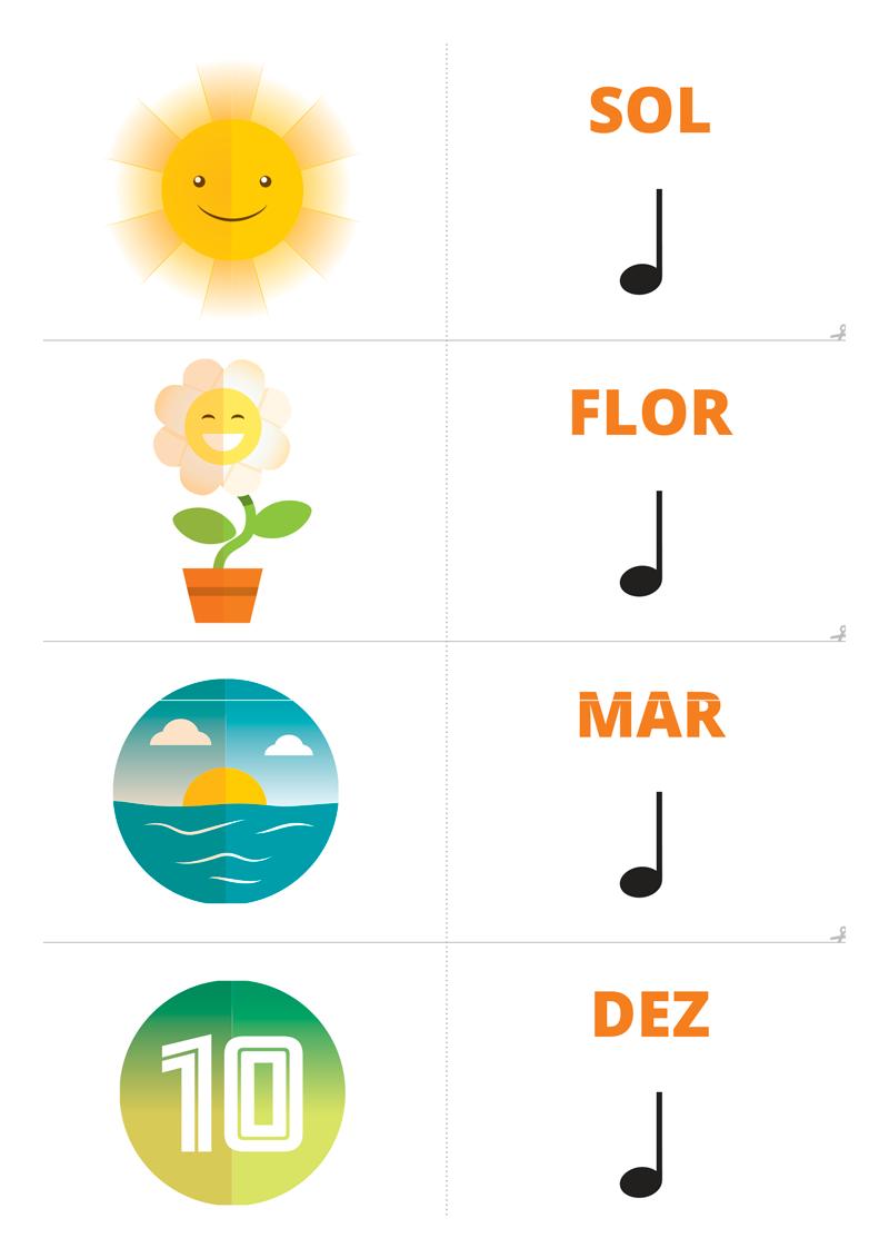 ilustração de sol com a palavra SOL seguida de semimínima. Abaixo, ilustração de uma flor com a palavra FLOR seguida da semimínima. Seguida de ilustração de mar a palavra MAR e a semimínima. Por fim, há ilustração do número dez com a palavra DEZ seguida de semimínima.