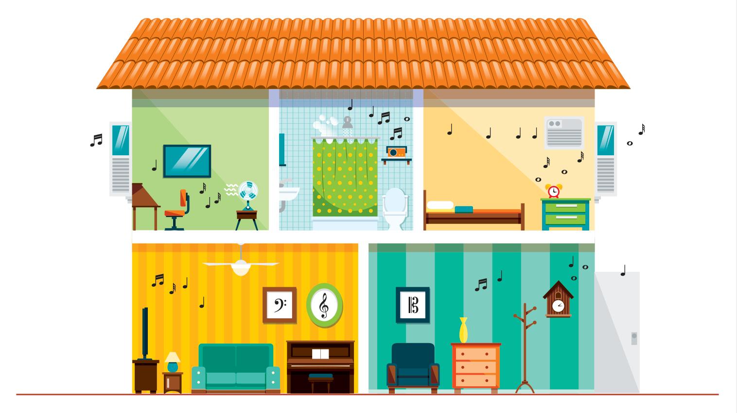 ilustração de casa com dois andares com escritório, banheiro, quarto e salas com móveis, paredes e quadros com notas musicais.