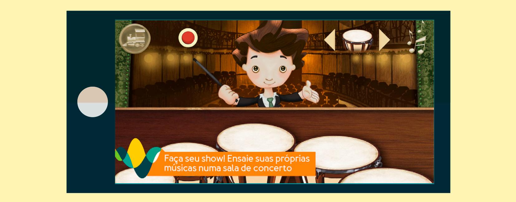 Imagem do aplicativo Tuhu Musical no jogo Concerto, onde o objetivo é apresentar alguns instrumentos e a relação harmoniosa entre eles.