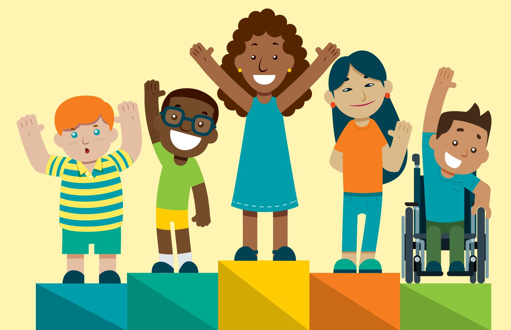 ilustração de pódio onde crianças diversas ocupam os cinco lugares de diferentes alturas.