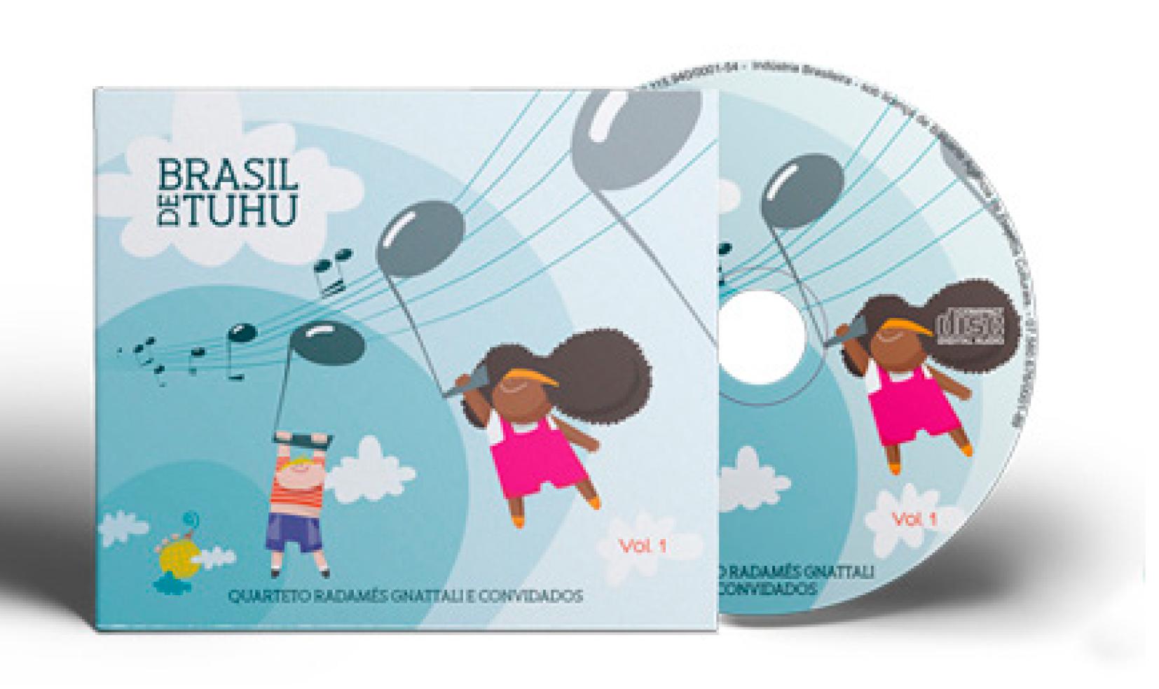 foto da capa e disco do CD Brasil de Tuhu – Volume 1. Gravado pelo Quarteto Radamés Gnattali e convidados.