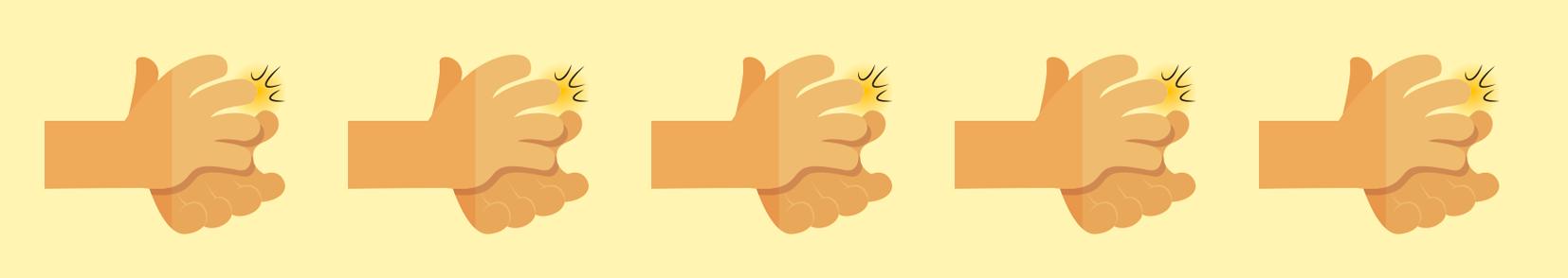 ilustração de cinco mãos batendo palmas na sequência.